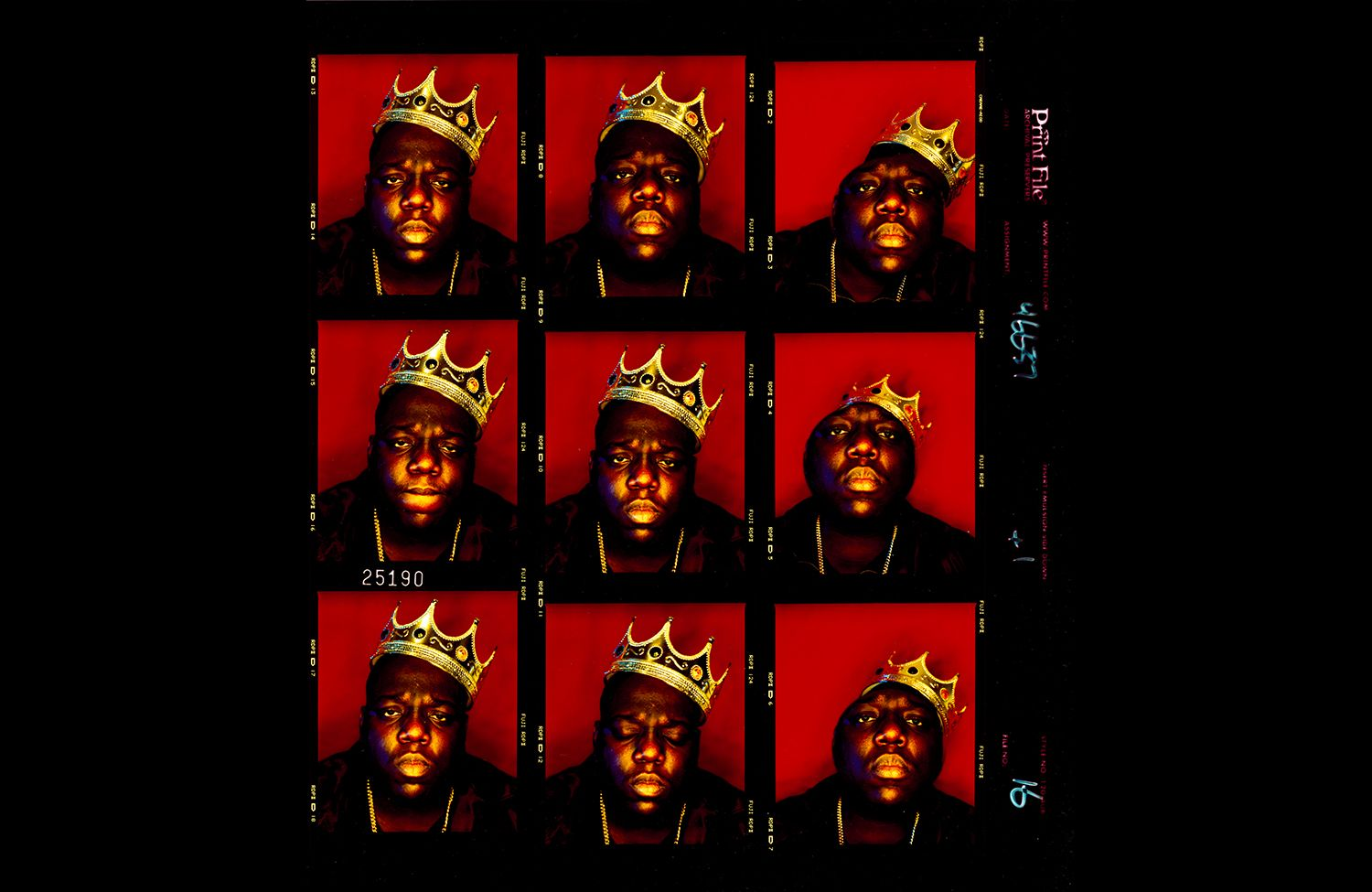 2. Biggie Smalls, King of New York contact sheet (1997). Photo by Barron Claiborne.