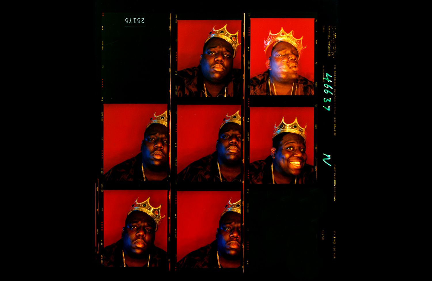 3. Biggie Smalls, King of New York contact sheet (1997). Photo by Barron Claiborne.