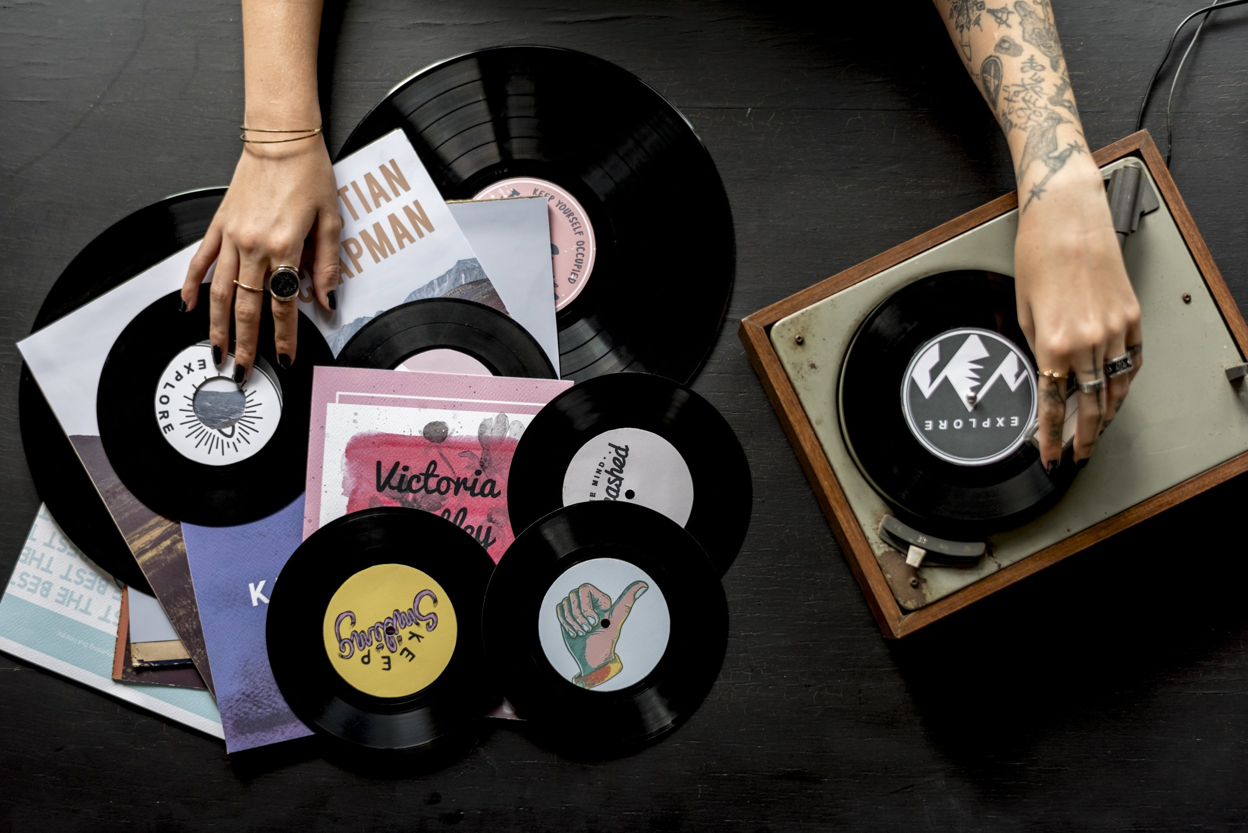 record player vinyl music woman tattoo