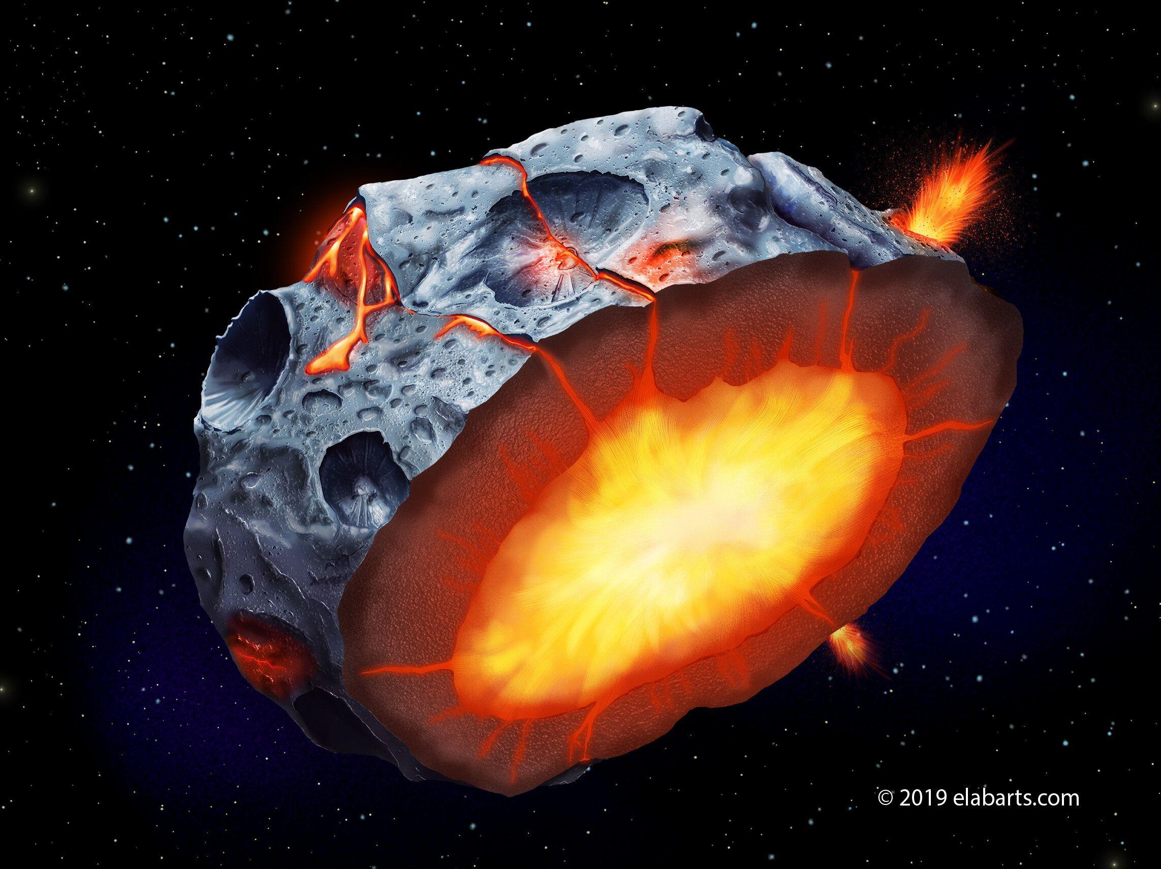 iron volcanoes, metal asteroids