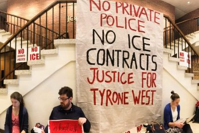 johns hopkins private police ice sit-in