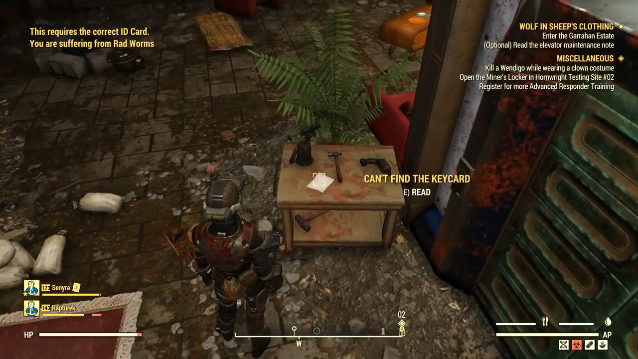 Fallout 76 wolf cant find card