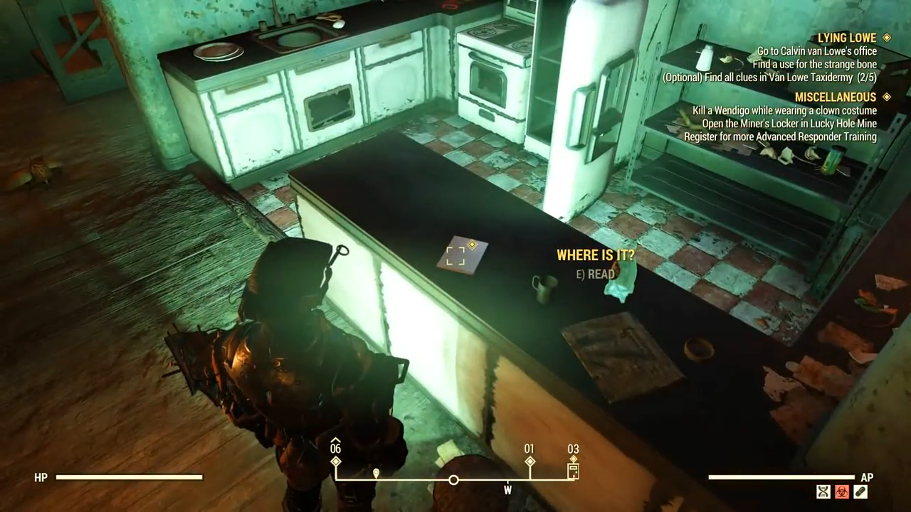 Fallout 76 lowe down kitchen clue