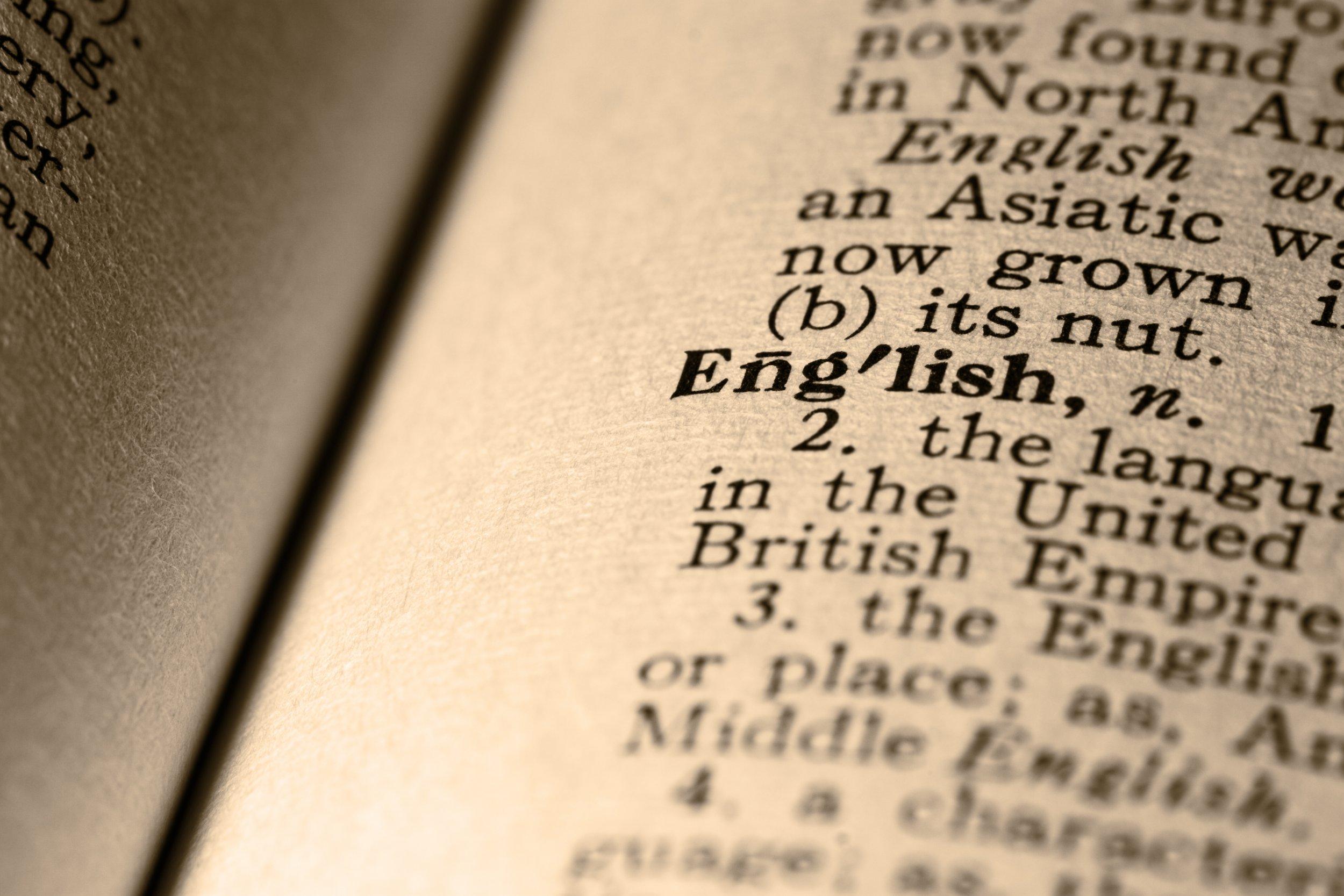 English language, dictionary