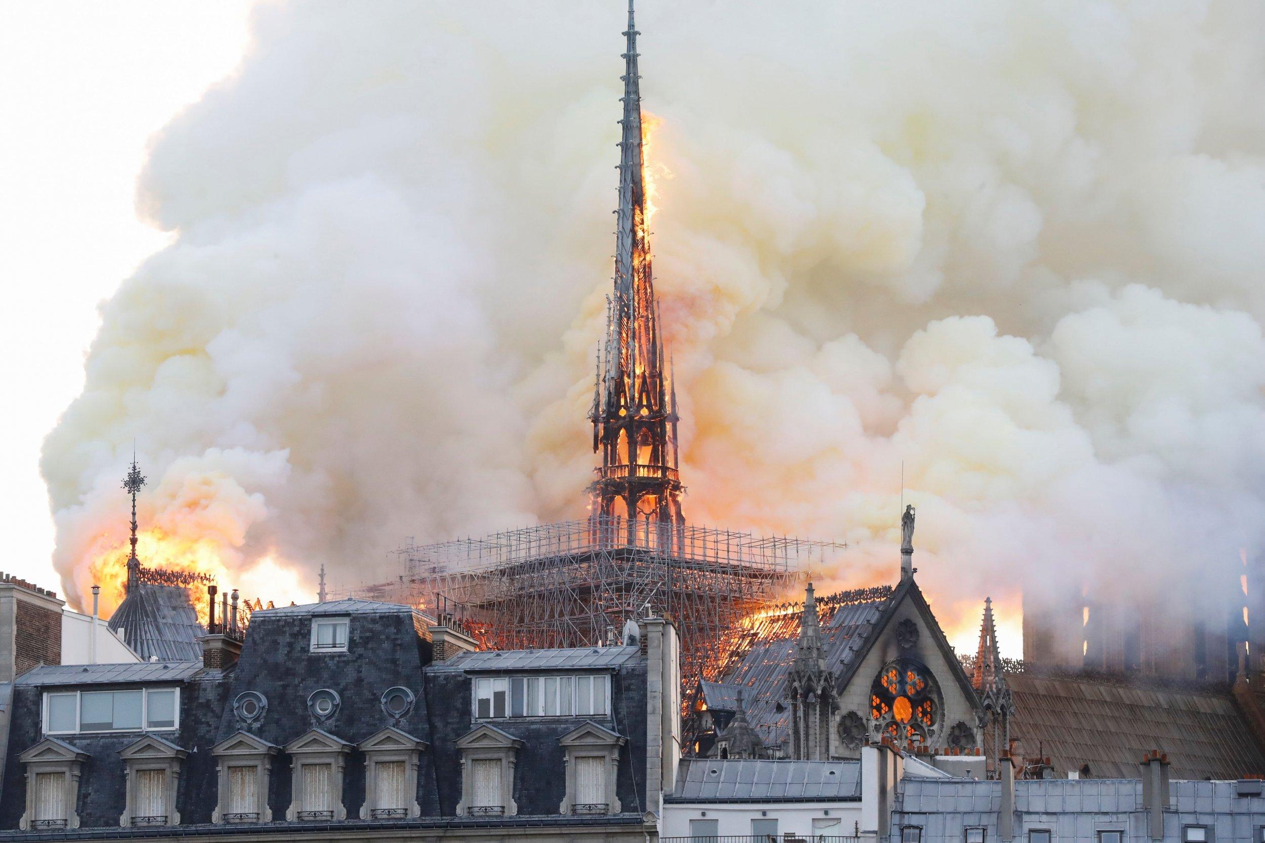 notre, dame, cathedral, fire, paris, photos