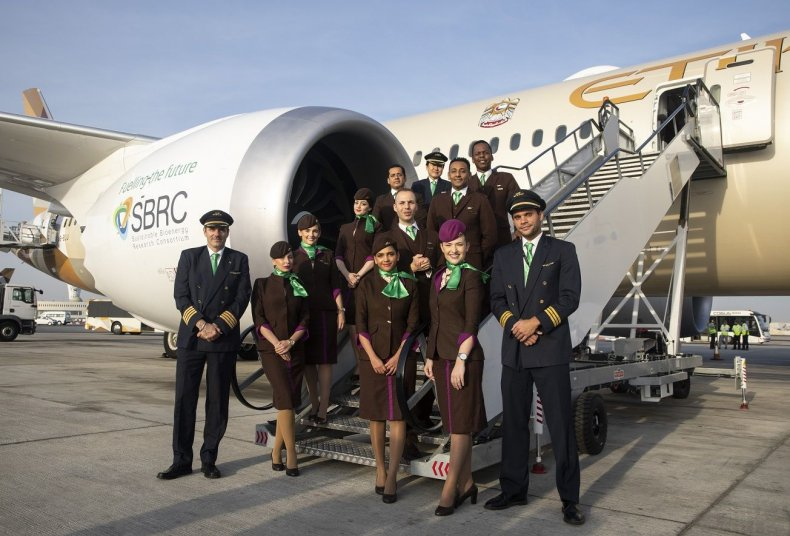 Etihad Airways cabin crew prepare for Earth Day flight_low res