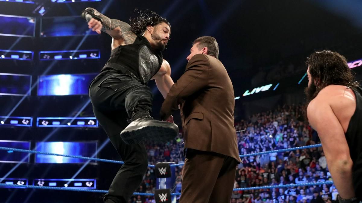 roman reigns punches vince mcmahon smackdown live results april 23