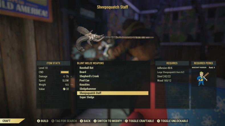 fallout 76 free range sheepsquatch staff