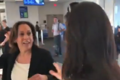 kamala harris airport ambush