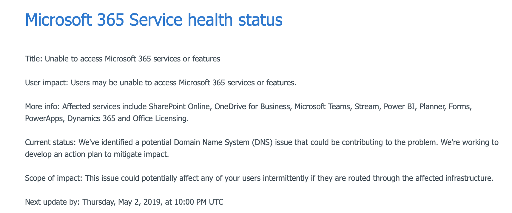Microsoft, outage, azure, down, offline, Sharepoint, office, 365, one, drive, server, status, update