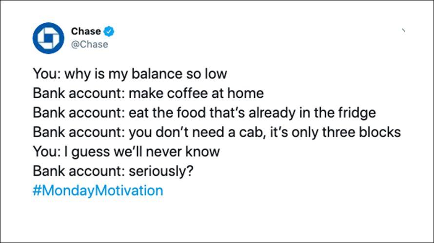 chase bank poverty tweet