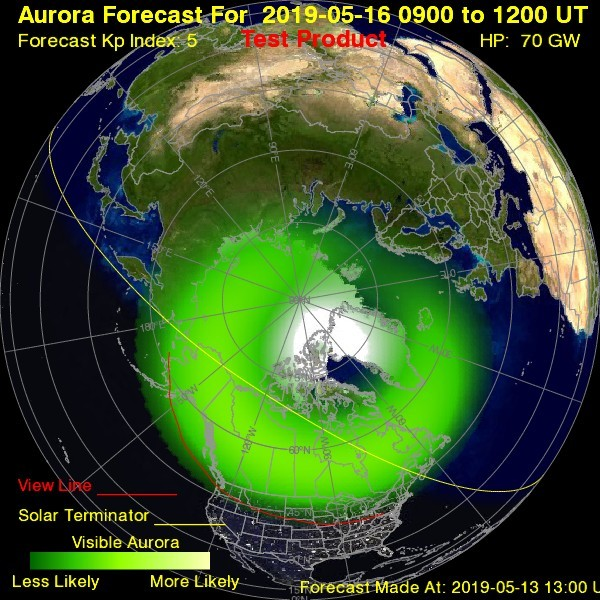 Aurora prediction [19659004] The May 16, 2006 Aurora prediction from the National Oceanic and Atmospheric Administration: NOAA's Space Weather Prediction Center announced that a smaller geomagnetic storm watch will be in effect on May 15 and 16. </span> <span class=