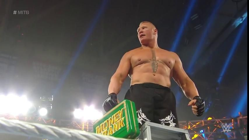brock lesnar wins money in the bank