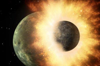 moon, impact, collision