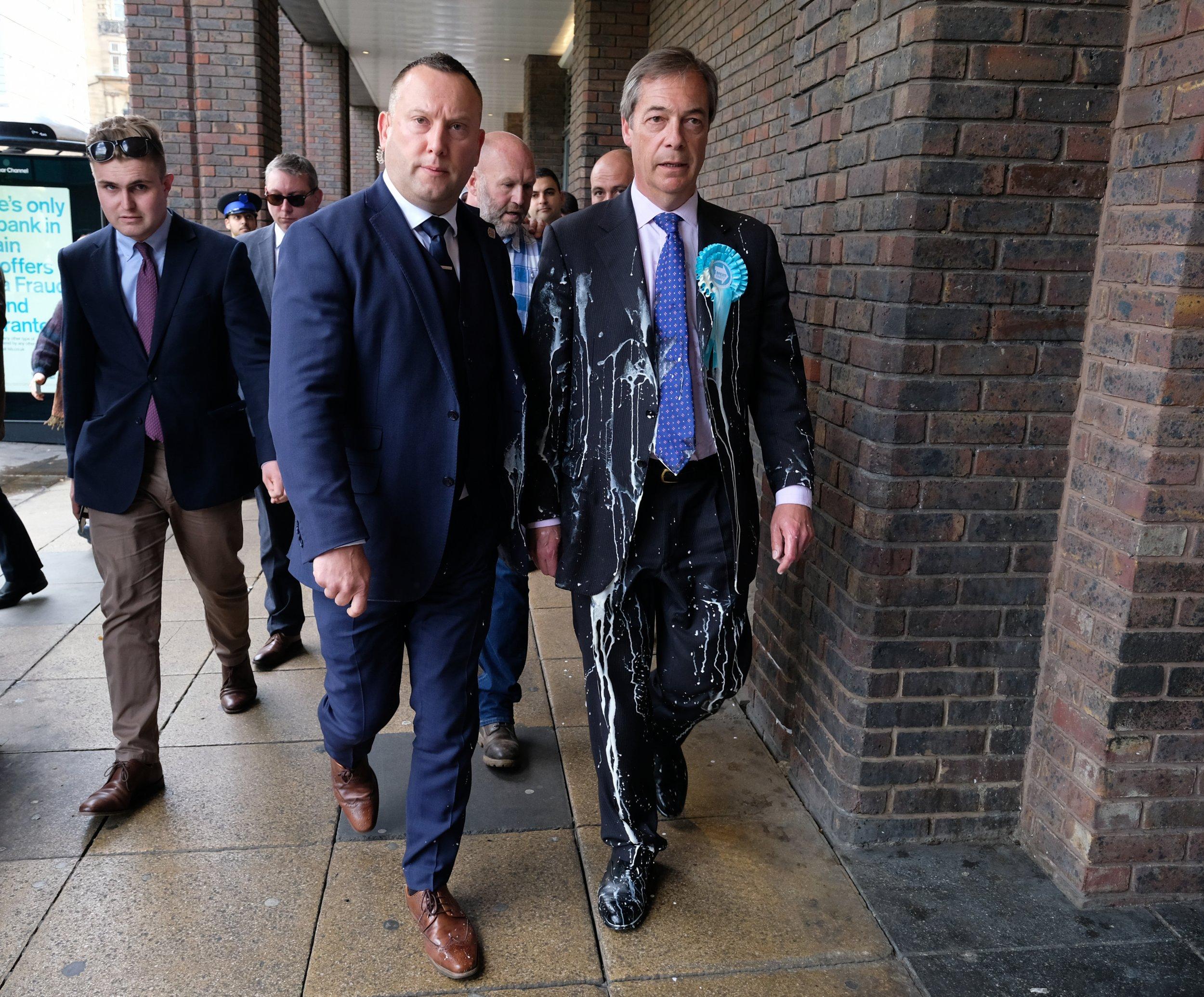 Brexit Nigel Farage milkshake attack