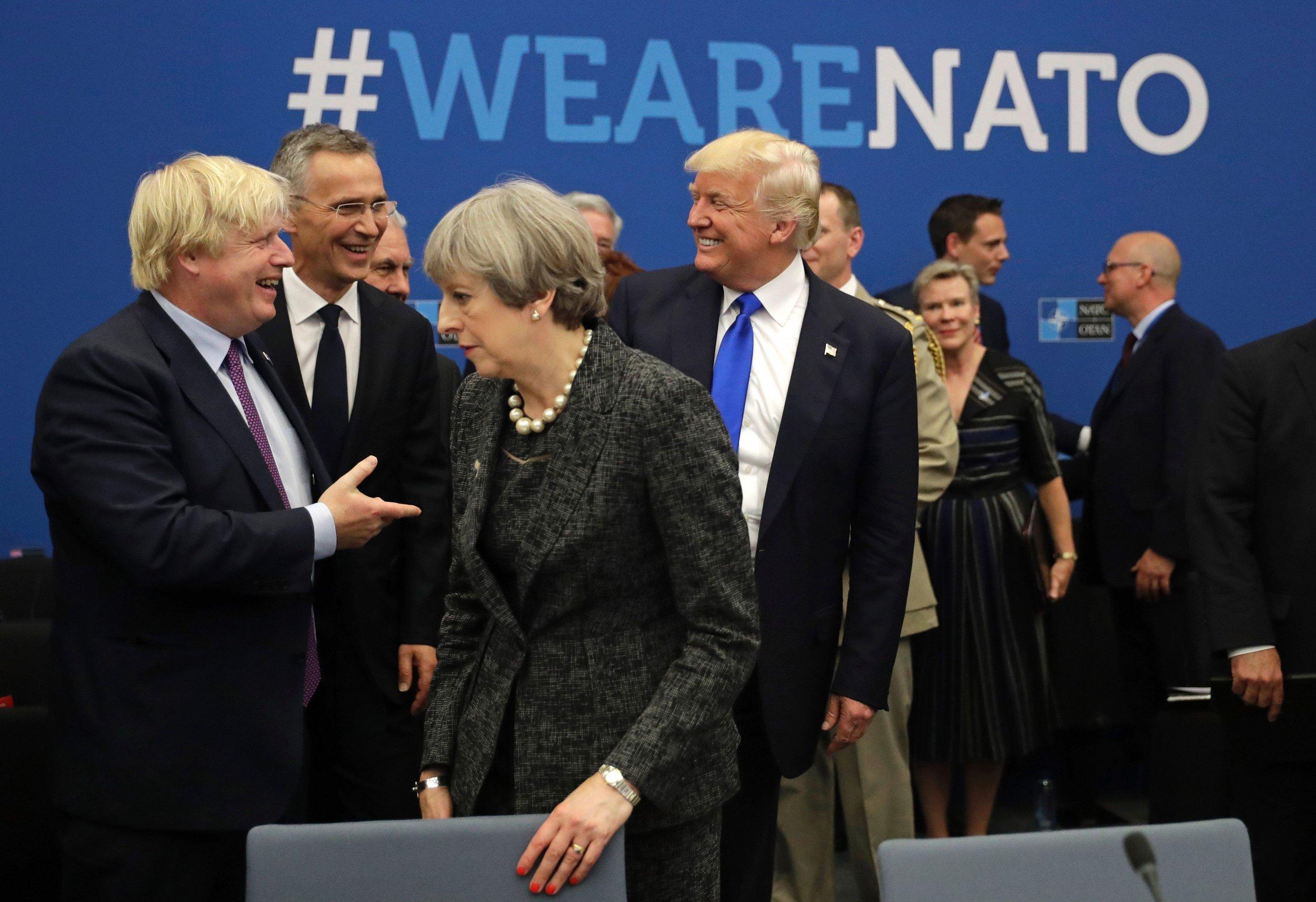 Donald Trump Boris Johnson Theresa May