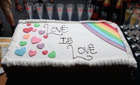 Same sex marriage rainbow wedding cake