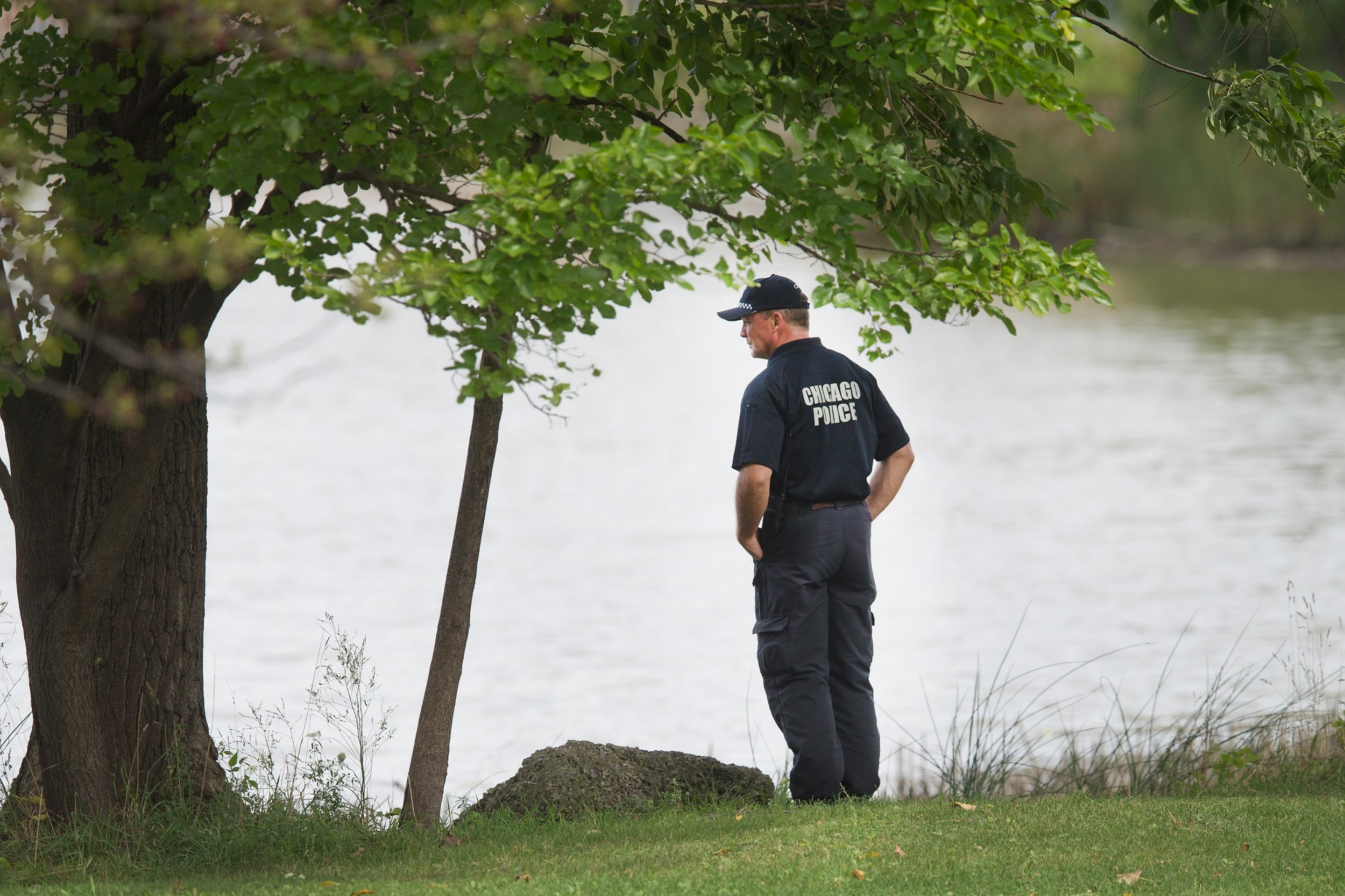 Chicago officer inspects lagoon where body of Kyrian Knox was found