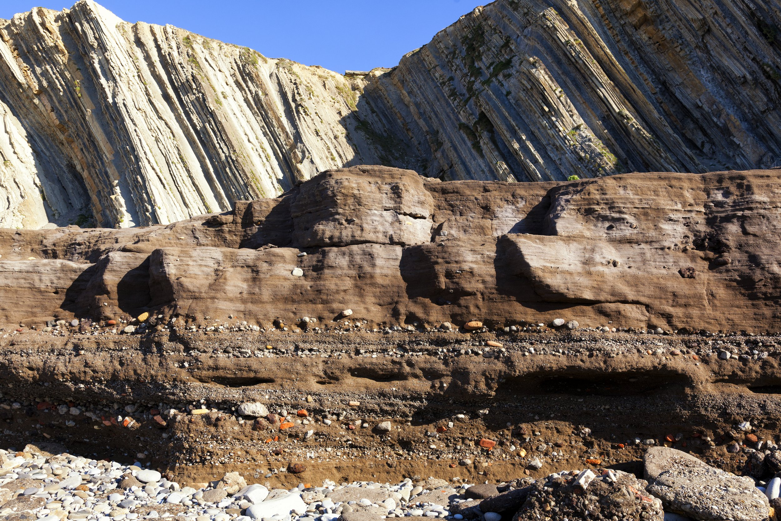 industrial deposits, rock layers