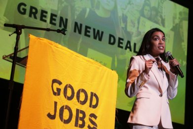 AOC, Sanders at Green New Deal Rally