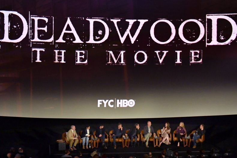 Matt Zoller Seitz, Carolyn Strauss, John Hawkes, Timothy Olyphant, Ian McShane, Daniel Minahan, Robin Weigert, Kim Dickens and Gregg Fienberg speak onstage at HBO's 'Deadwood' FYC screening at Arclight Hollywood on May 15, 2019 in Los Angeles, California.