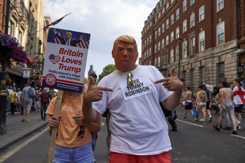Tommy Robinson, Donald Trump, protests, UK, state visit, racism