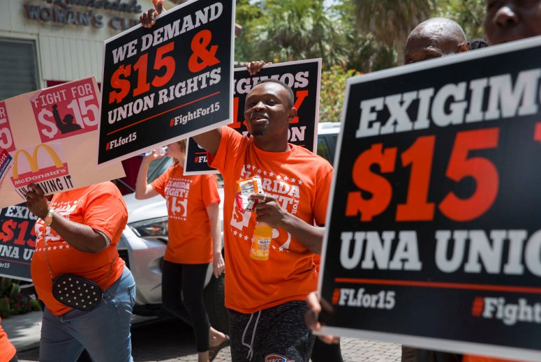McDonald's Workers Strike For Higher Wages In Fort Lauderdale