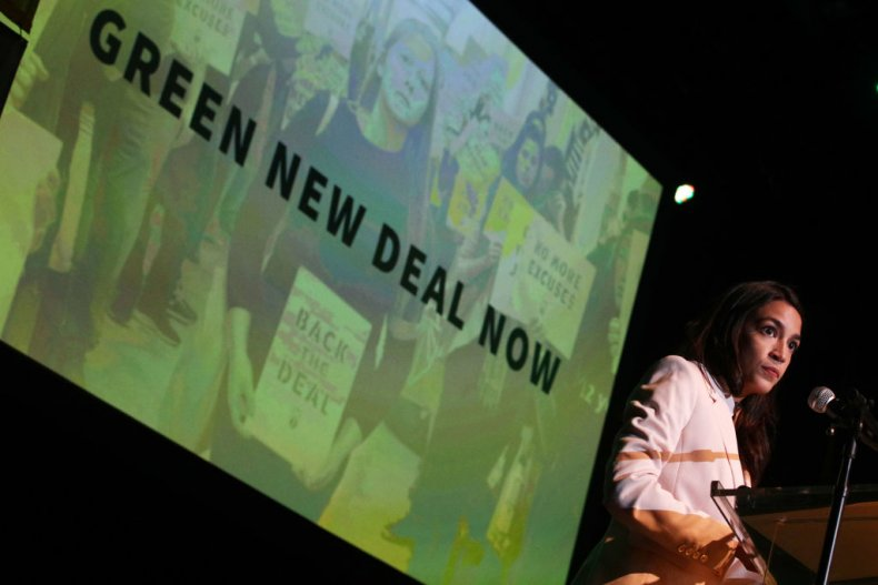 Alexandria Ocasio-Cortez speaks about Green New Deal
