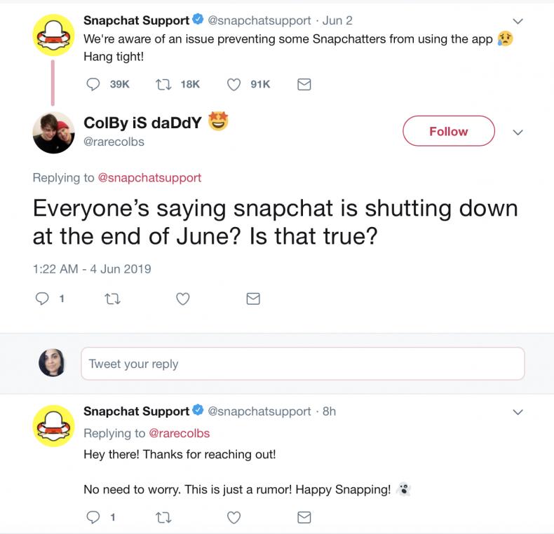 snapchat shutting down end june 2019 rumor
