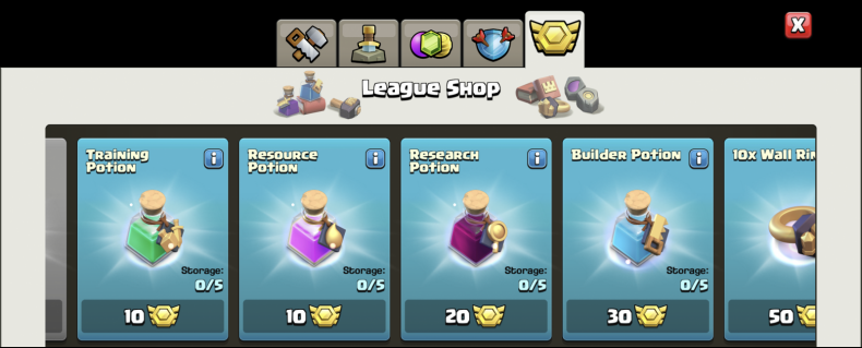 clash clans league shop prices