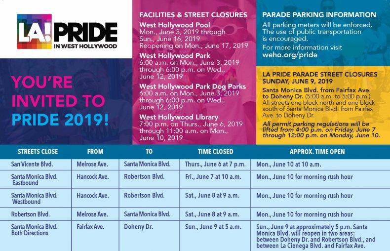 LA Pride Parade Closures West Hollywood