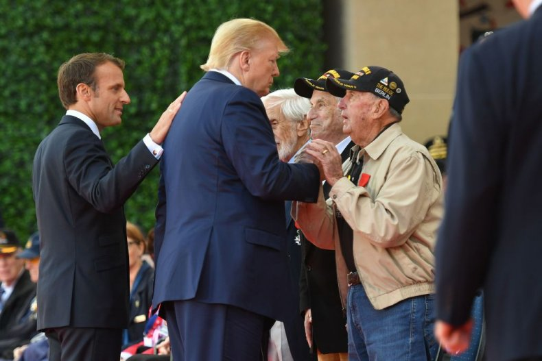 Macron and Trump with veterans on D-Day