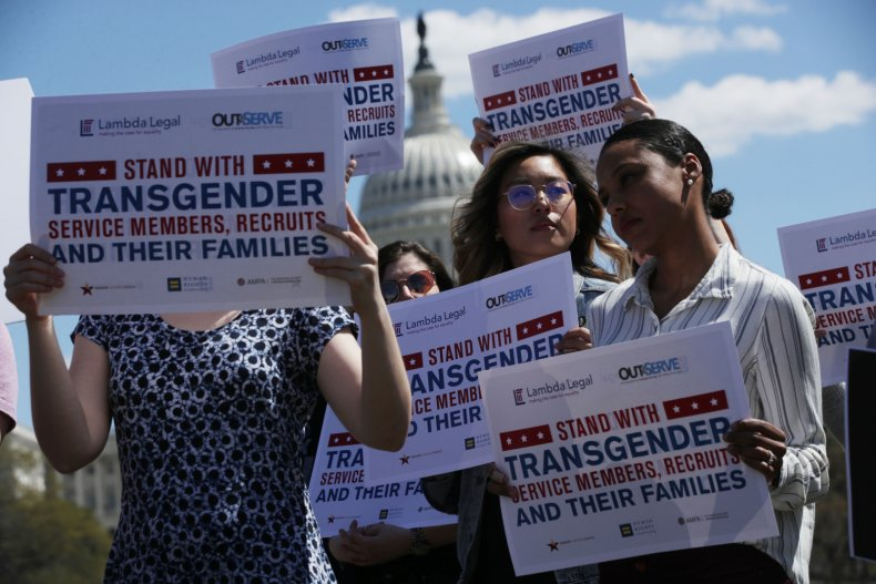 Democrat Lawmakers Hold A Rally Against The Trump Administration's Transgender Military Ban