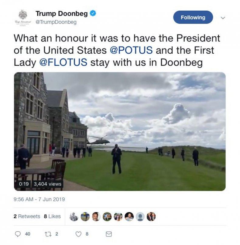 trump doonbeg tweet deleted
