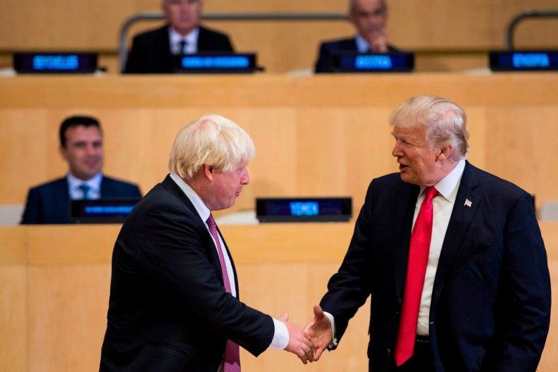 Boris Johnson greets Donald Trump