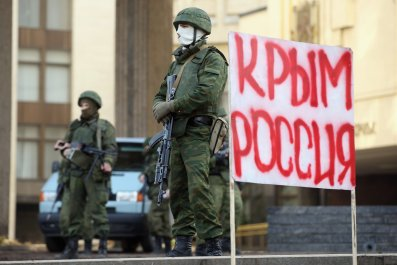 Soldiers guard the Crimean parliament