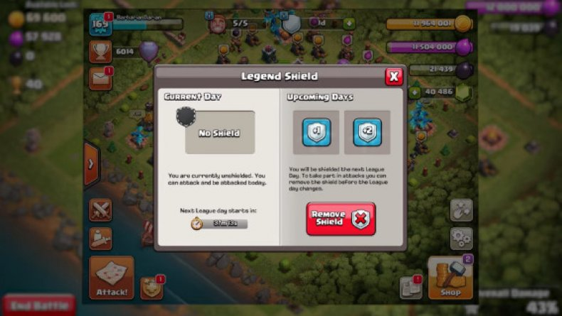 clash of clans legend league shields