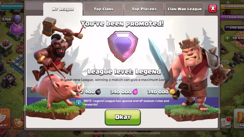 clash of clans legend league sign up