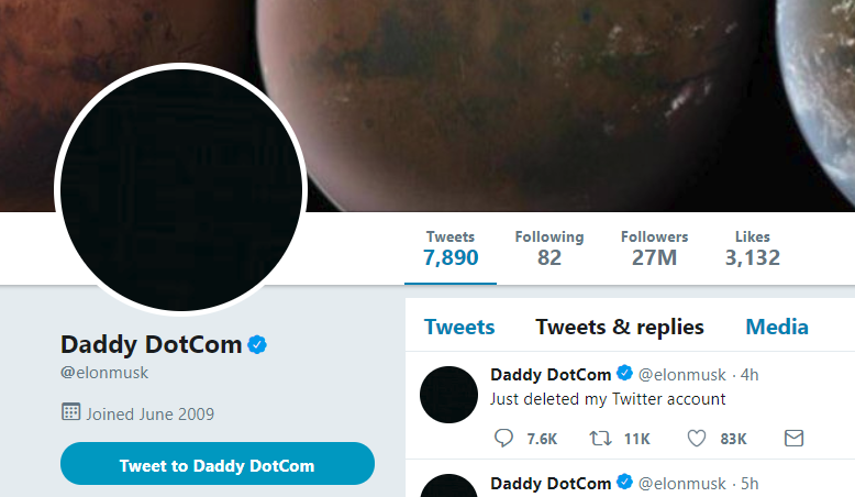 Elon Musk Changes Twitter Name to 'Daddy DotCom' and Says He