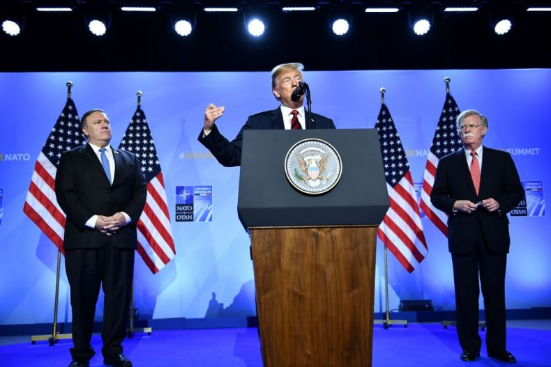 Mike Pompeo, Donald Trump and John Bolton