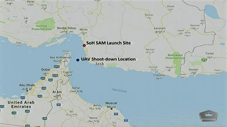 us map iran gulf drone attack