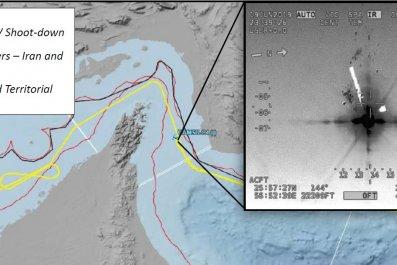 us iran drone shoot down map