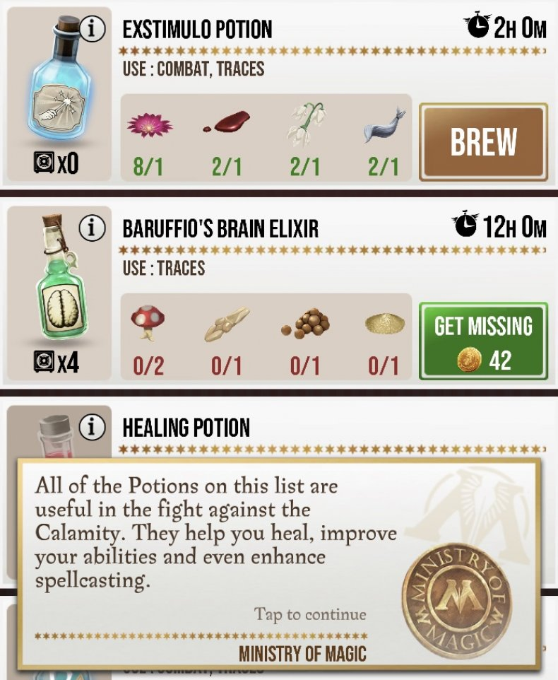 Harry potter wizards unite potions master notes guide gestures list brewing invigoration draught healing