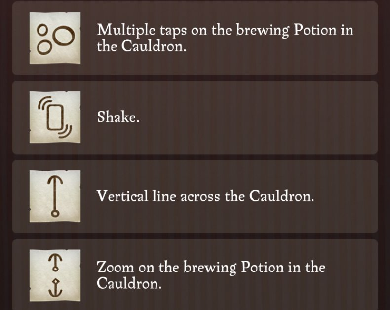 Harry potter wizards unite potions master notes guide gestures list brewing invigoration draught healing spell casting tips wizarding challenge