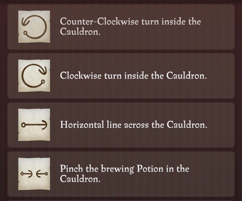 Harry potter wizards unite potions master notes guide gestures list brewing invigoration draught healing spell