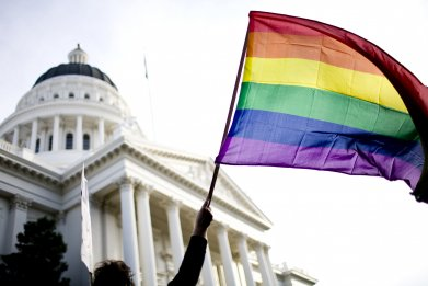 Rally On Steps Of California State Capitol Protests Passage Of Prop 8