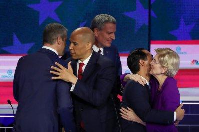 Democratic Debate hug