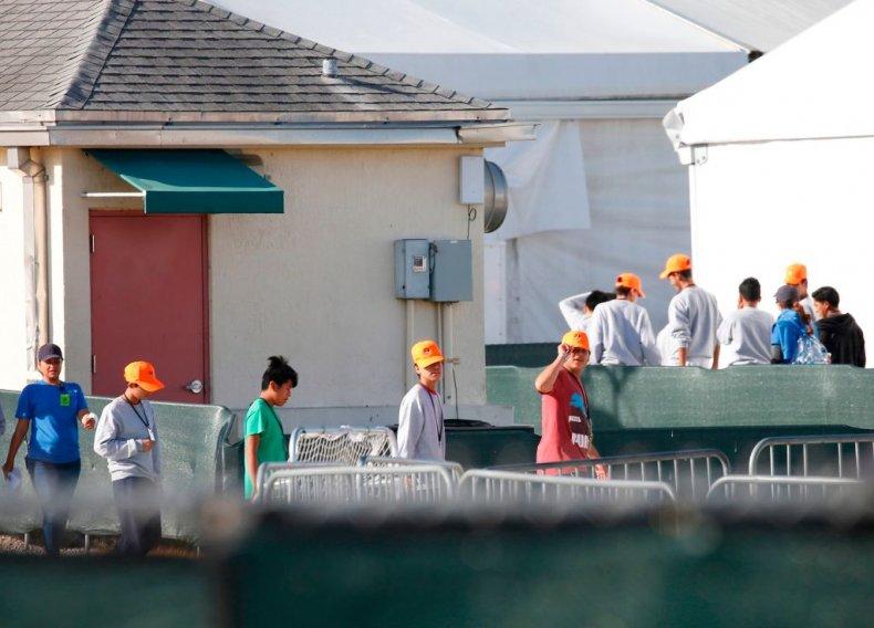 Migrant children in detention center