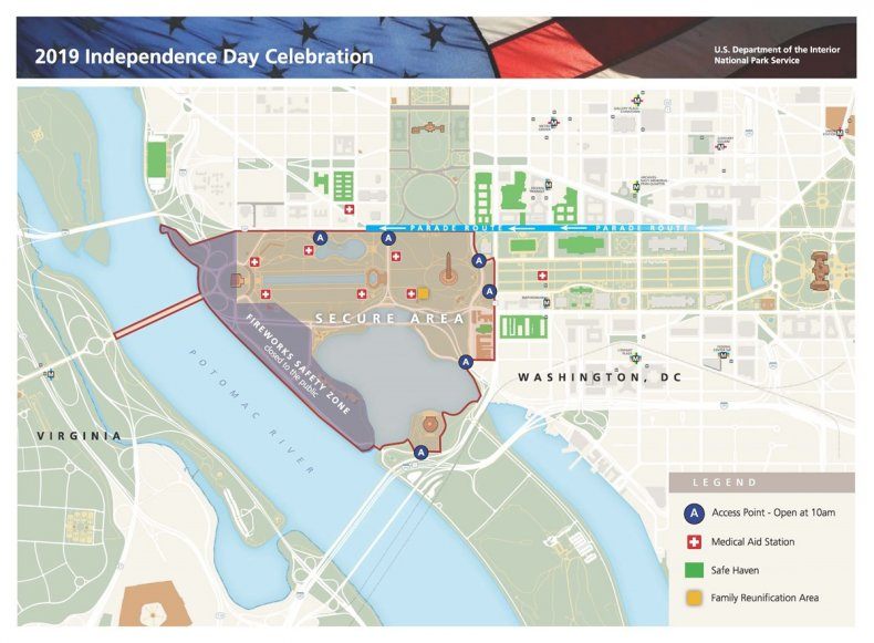 Map National Park Service 2019 DC