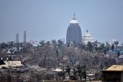 This photo taken on May 12, 2019 shows the Lord Jagannath temple amid destroyed trees and debris in Puri in the eastern Indian state of Odisha, following Cyclone Fani.